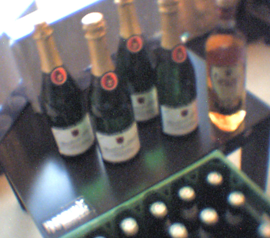 2 cases of Heinies, 4 bottles of champagne, 1 bottle of whiskey, fake plastic champagne glasses ;P